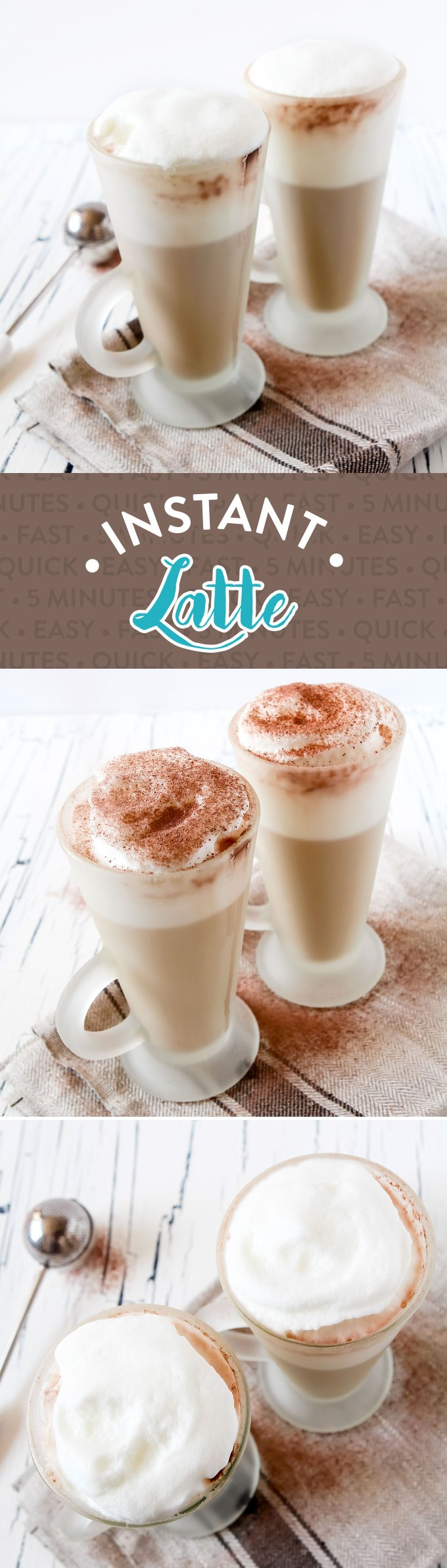 Coffee Shop Style Homemade Instant Latte Recipe by Sweet2EatBaking.com | No need to nip to the shop for your latte fix! This instant latte is made in minutes with 2-3 ingredients, has a delicious flavour and foamed milk!