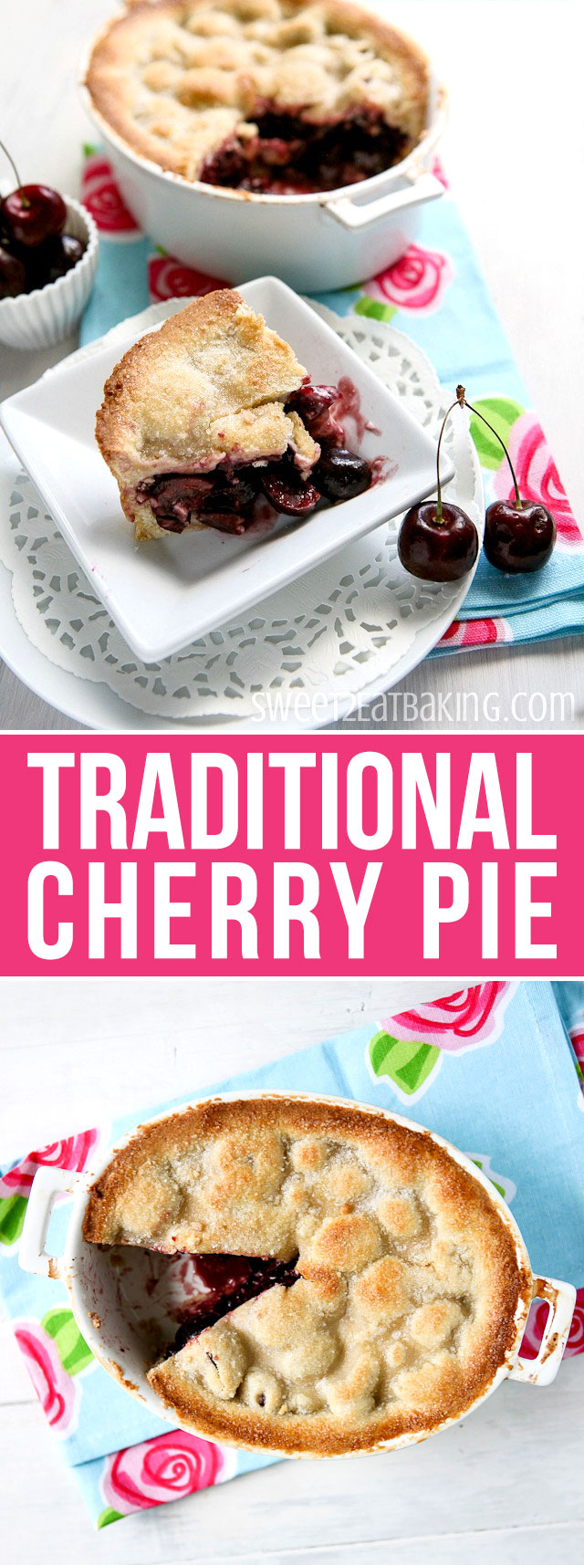 Cherry Pie Recipe by Sweet2EatBaking.com   An all American classic recipe. a classic summer dessert, and bursting with fresh cherries.