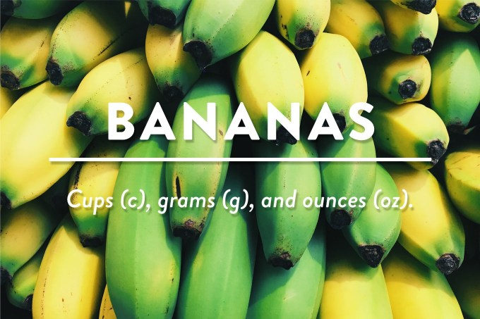 Bananas Cup To Grams G And Ounces Oz