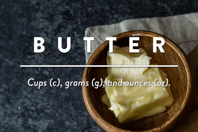 Butter - Measurements in cups (c), grams (g), and ounces (oz) by Sweet2EatBaking.com