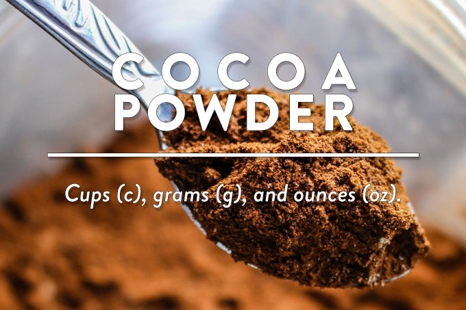 Cocoa Powder - Measurements in cups (c), grams (g), and ounces (oz) by Sweet2EatBaking.com