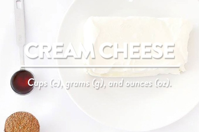 Cream Cheese - Measurements in cups (c), grams (g), and ounces (oz) by Sweet2EatBaking.com