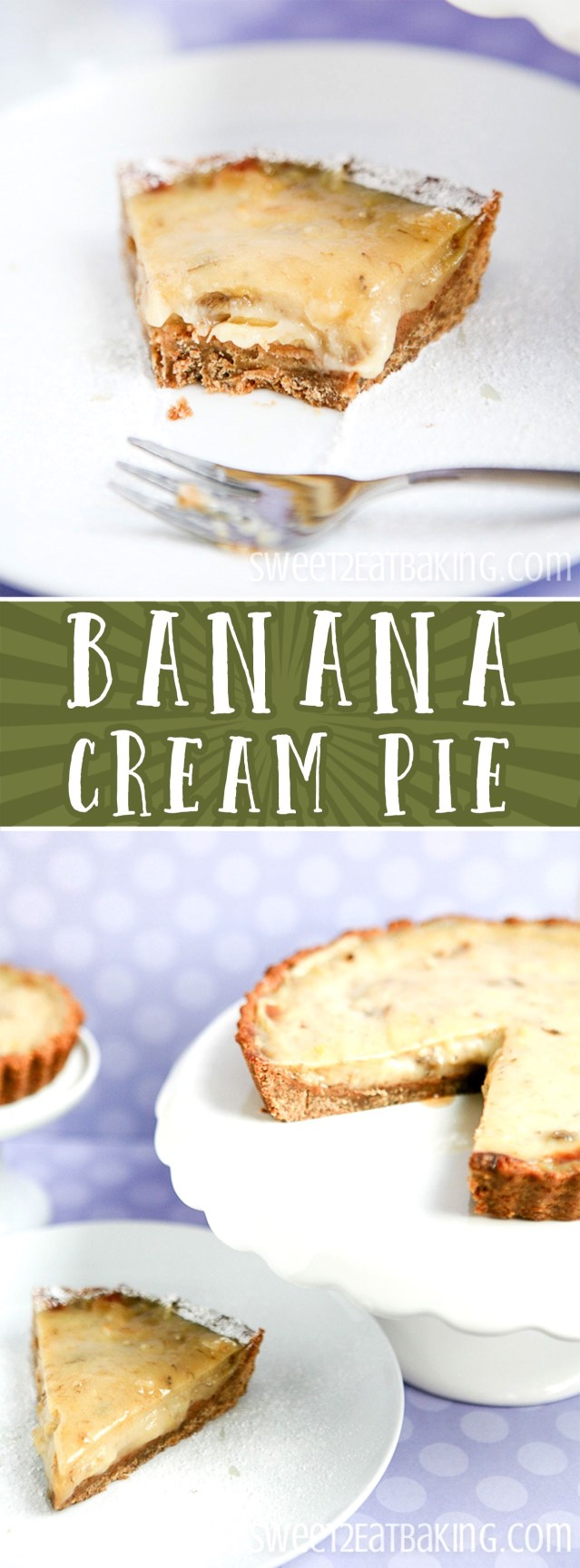Banana Cream Pie Recipe with a Banana Cookie Crumb Crust by Sweet2EatBaking.com | You'll go bananas for this all American Banana Cream Pie Recipe with an added banana flavoured cookie crumb crust! A thick and heavy topping of rich and creamy banana flavoured custard, finished off with a topping of sliced bananas.