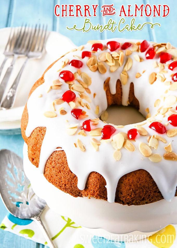 Cherry and Almond Bundt Cake Recipe by Sweet2EatBaking.com