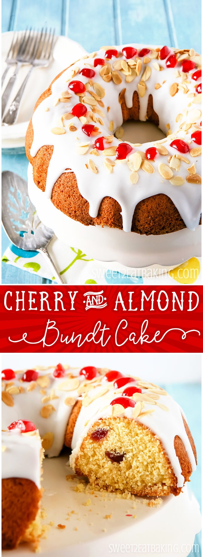 Cherry and Almond Bundt Cake Recipe by Sweet2EatBaking.com | This delicious Cherry and Almond Bundt Cake recipe is a light and moist cake, studded with french glacé cherries, ground almonds, and lemon zest throughout the batter. Topped off with a fresh lemon glacé icing and sprinkled with toasted almonds and glacé cherries.