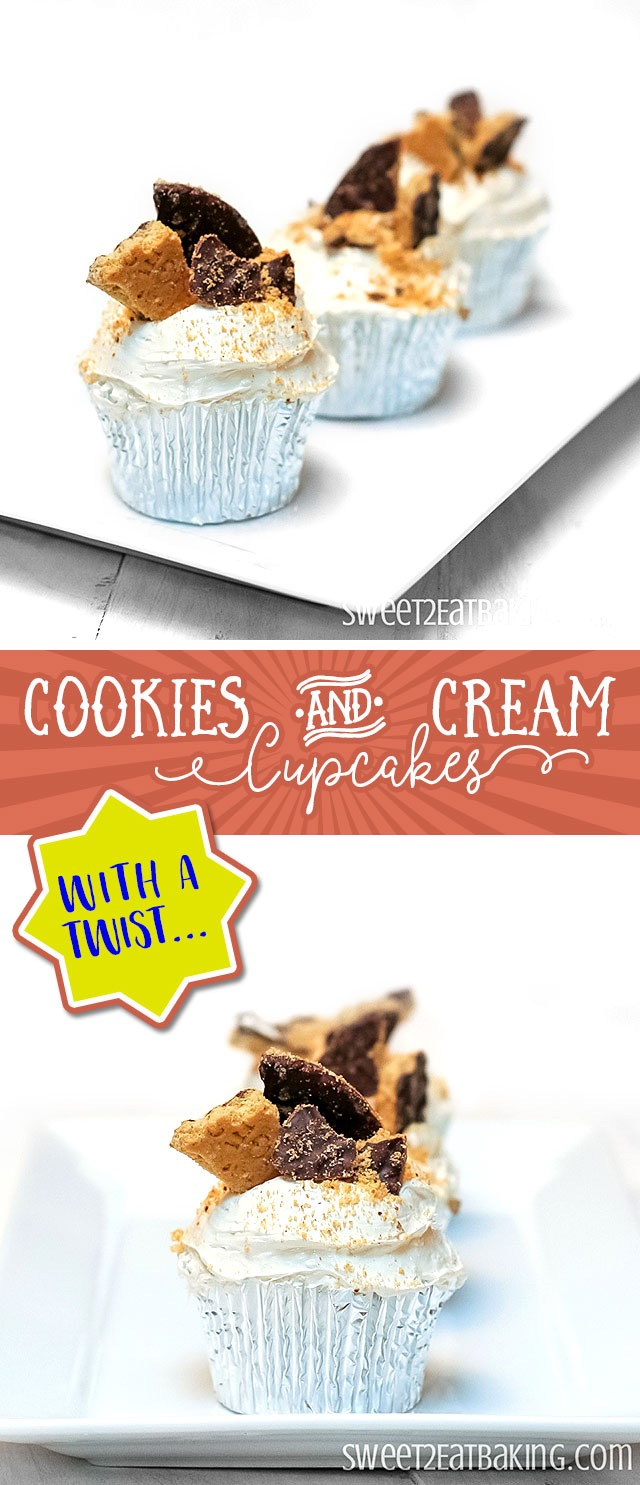 Cookies & Cream Cupcakes Recipe With a Twist by Sweet2EatBaking.com   All the features of regular cookies and cream cupcakes - rich chocolate cupcakes smothered with creamy frosting, topped off with digestive biscuit (graham cracker) crumbs - but made with chocolate covered graham crackers instead of Oreos!