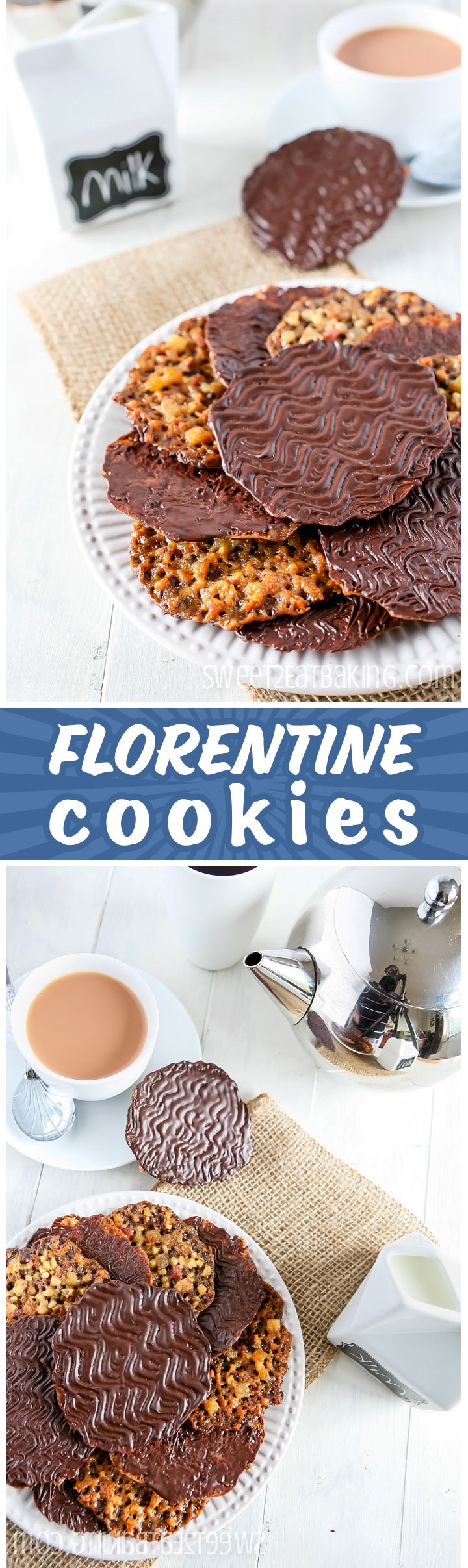 Florentines Cookie Recipe by Sweet2EatBaking.com | These Florentine cookies are a disc of caramel with glacé cherries, candied peel, toasted almonds, hazelnuts Topped off with a generous coating of rich dark chocolate. Little pretty discs of edible lace. :)