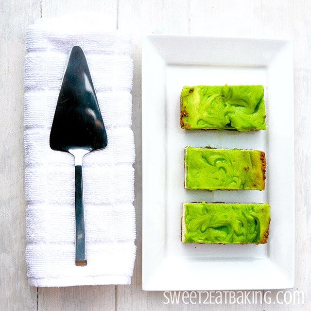 Key Lime Cheesecake Bars Recipe by Sweet2EatBaking.com
