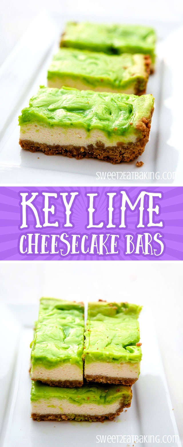 Key Lime Cheesecake Bars Recipe by Sweet2EatBaking.com | A rich and indulgent cheesecake centre with a tart key lime topping, and a crunchy cracker crust.