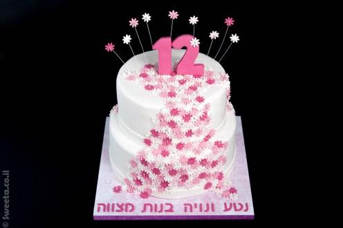 עוגת בת מצווה מעוצבת בצק סוכר