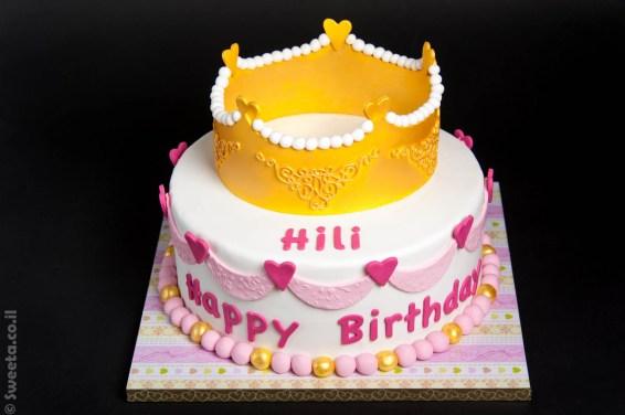 עוגת בת מצווה מעוצבת כתר