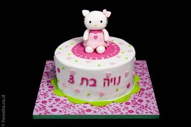 עוגת בצק סוכר קיטי מעוצבת