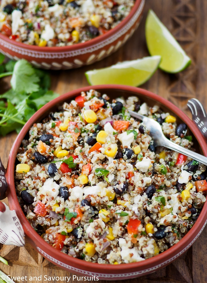 Southwestern Quinoa Salad served in small bowls.