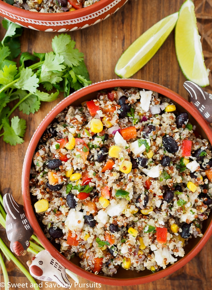 This flavour packed vegetarian Southwestern Quinoa Salad is loaded with protein, fibre and is gluten-free. Perfect as a side for dinner or main for lunch!