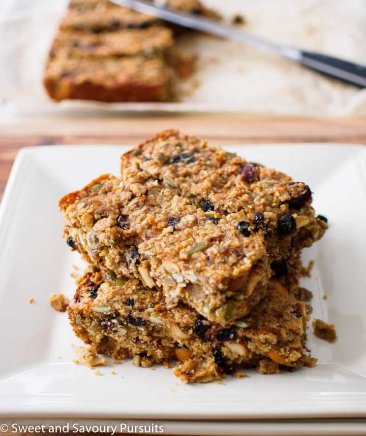 Oat, Fruit and Seed Bars on dish.