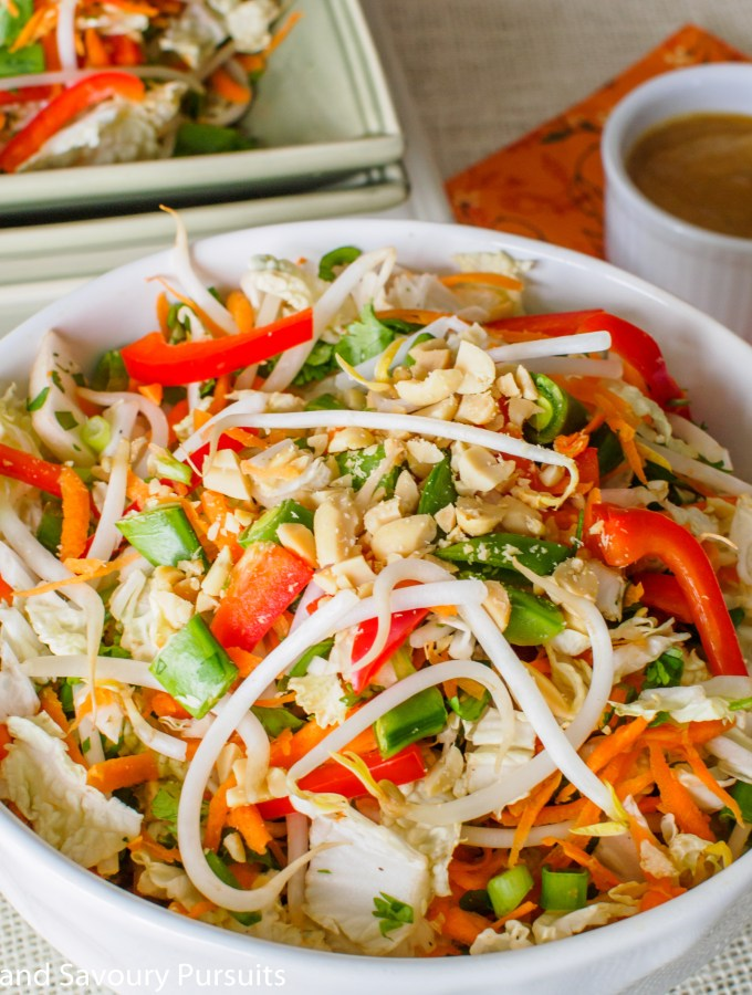 Bowl of Asian Salad with Peanut Butter Dressing