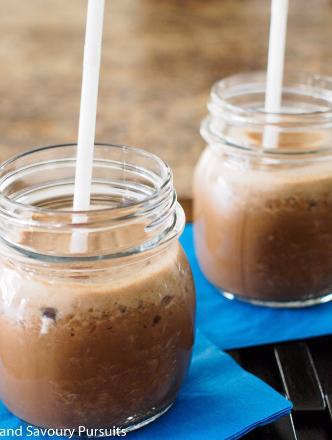 Coffee Smoothie served in small mason jars.