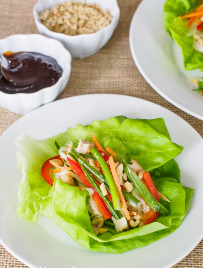 Chicken and Vegetable Lettuce Bundles served with hoisin sauce