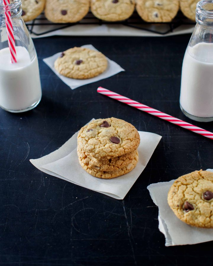 Quinoa Chocolate Chip Cookies served with milk.