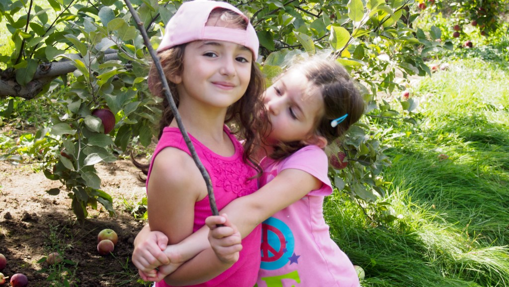 Children apple picking