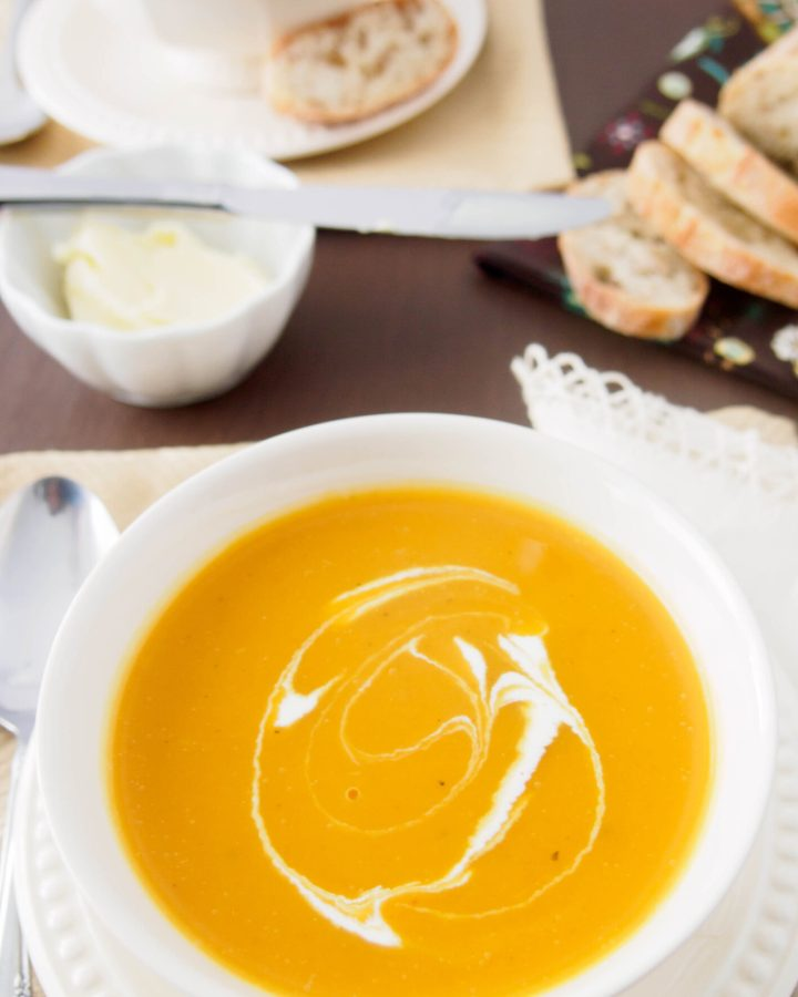 Bowl of Roasted Butternut Squash and Pear Soup