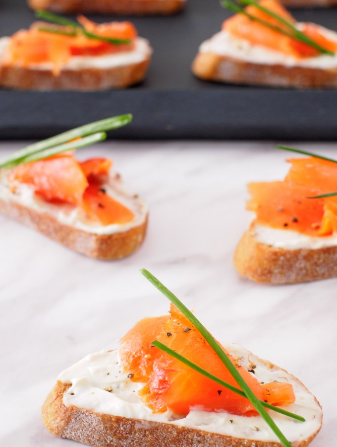 Smoked Salmon and Boursin Crostini with fresh chives.