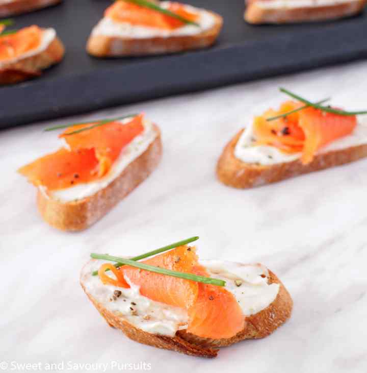 Smoked Salmon and Boursin Crostini ready to be served.