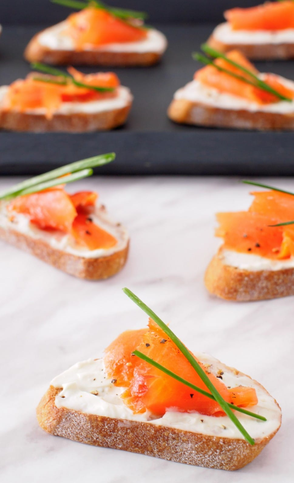 This Smoked Salmon and Boursin Crostini has only a few ingredients, can be assembled in minutes and is sure to impress your guests.