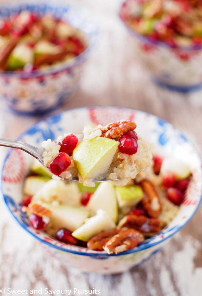 Pear, Pomegranate and Pecan Quinoa Breakfast Bowls