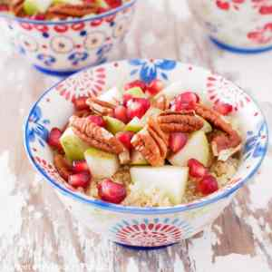 Pear, Pomegranate & Pecan Quinoa Breakfast Bowls