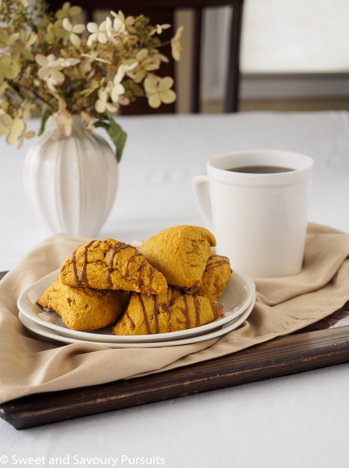 Pumpkin Scones with Espresso Glaze