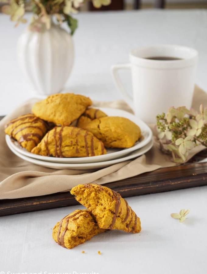 Pumpkin Scones with Espresso Glaze