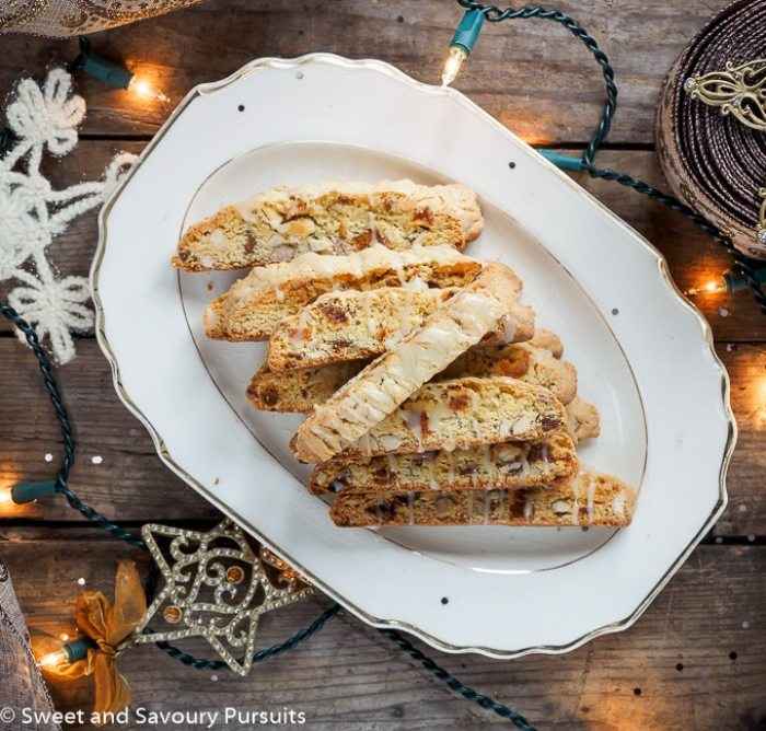 Apricot and Almond Biscotti with White Chocolate Drizzle
