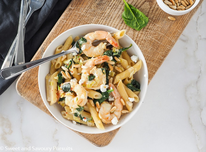 Plate of Shrimp, Spinach and Goat Cheese Penne.