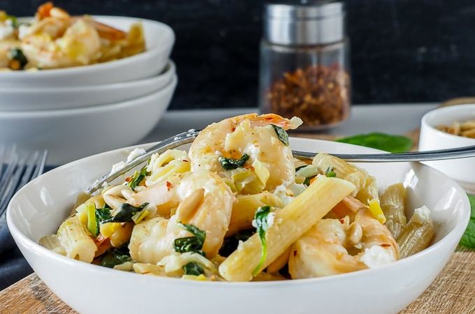 Shrimp, Spinach and Goat Cheese Penne
