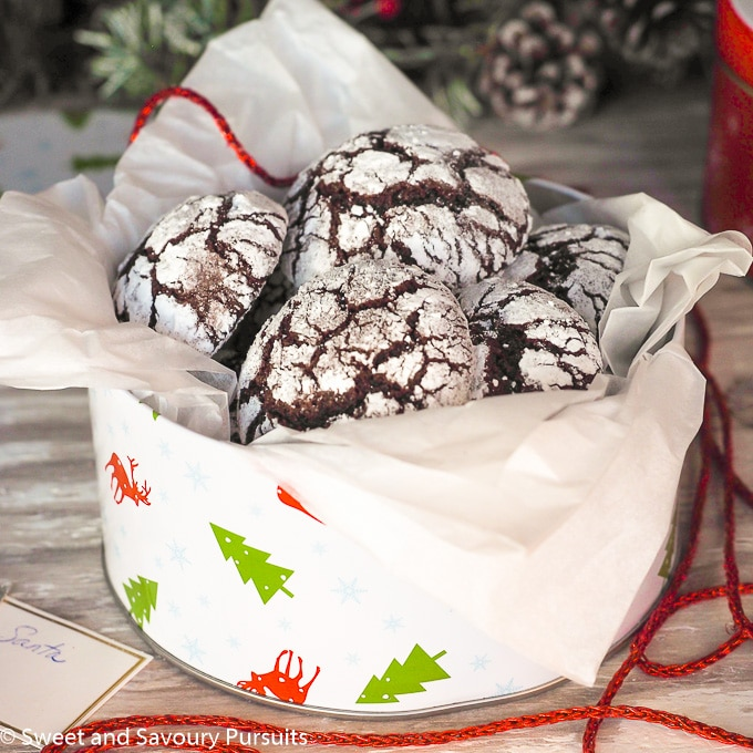 Tin of Holiday Chocolate Crinkle Cookies.