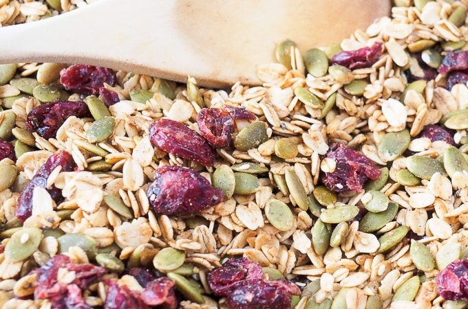 Pumpkin Seed Granola on baking sheet