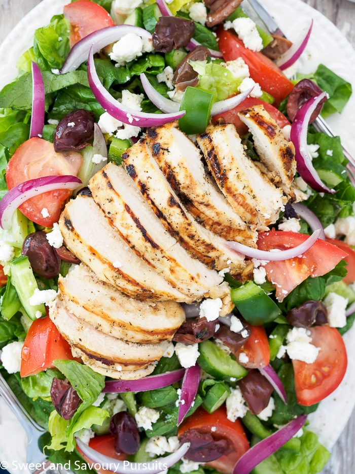 Greek Salad with Grilled Chicken - Sweet and Savoury Pursuits