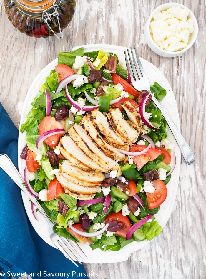 Greek Salad served with Chicken