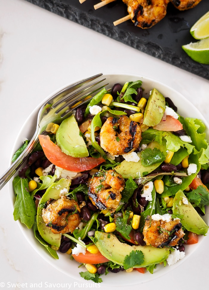 Southwestern Grilled Shrimp Salad served in bowl.