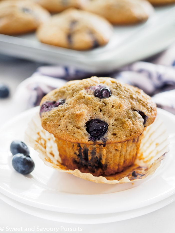 Tender and moist, these heavenly Whole Wheat Blueberry Lemon Muffins are simple to bake and make a wonderful breakfast treat or snack.