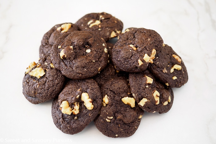 Pile of Fudgy Chocolate Walnut Cookies