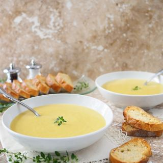 Creamy Leek and Potato Soup with Garlic Parmesan Crostini