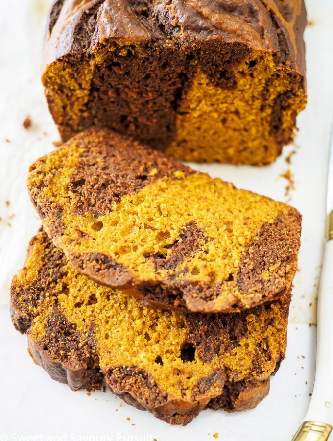 Chocolate Swirled Brown Sugar Pumpkin Loaf