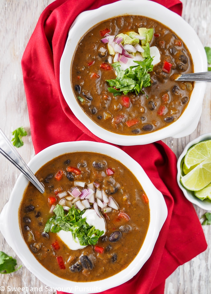 Two bowls of Easy Black Bean Soup.
