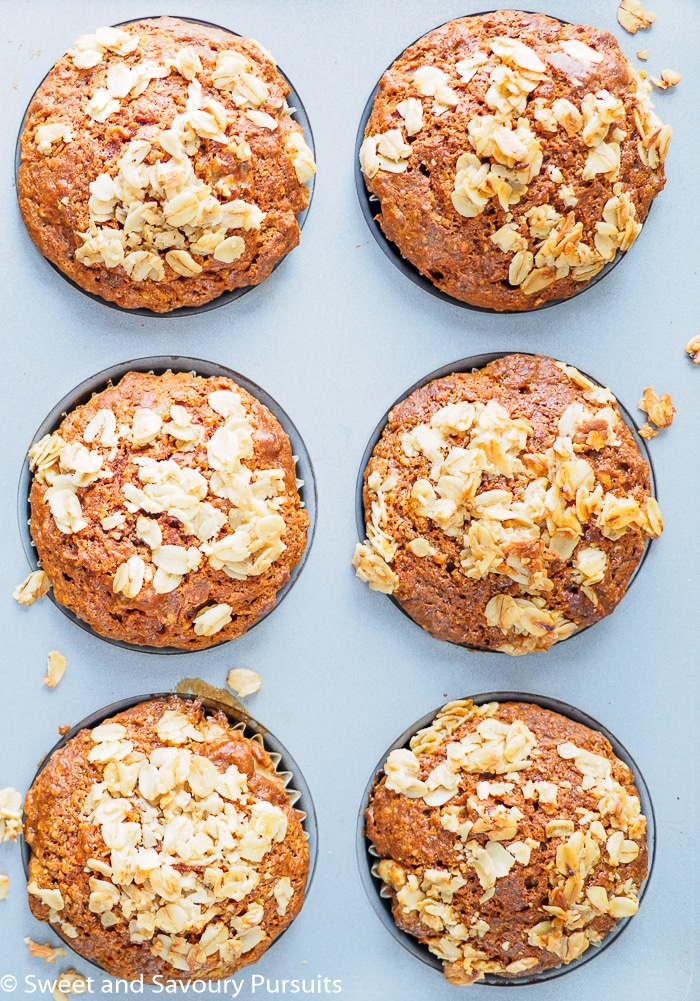 Whole Wheat Carrot Muffins  in muffin tin.