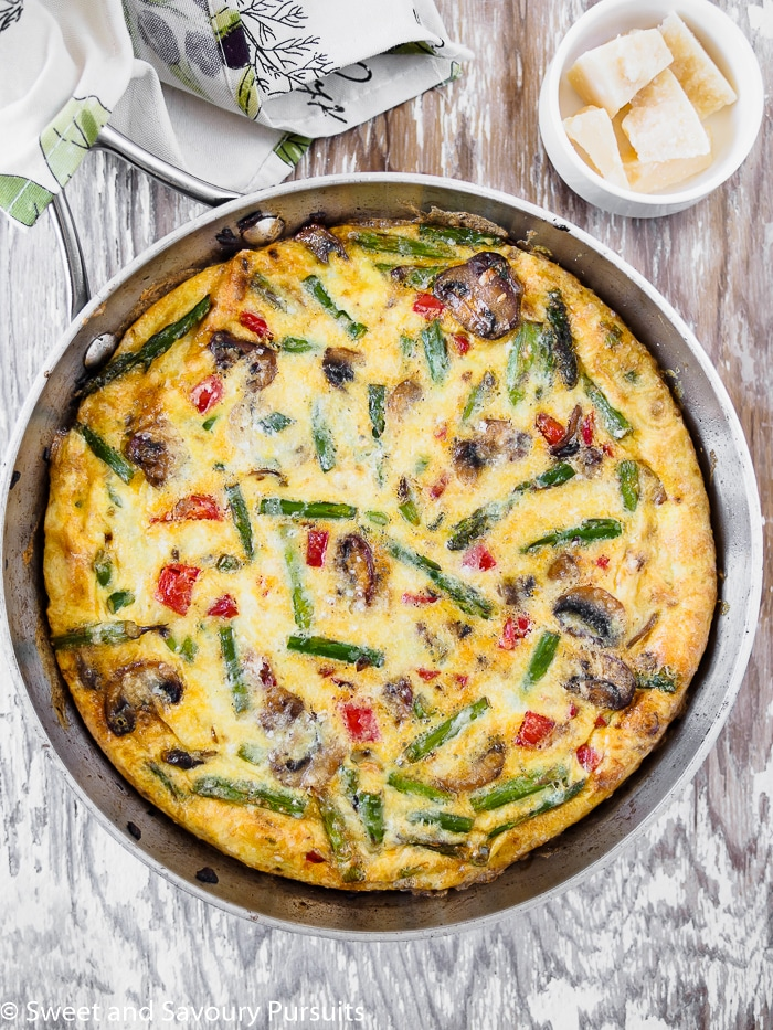A Healthy Vegetable Frittata in a skillet.