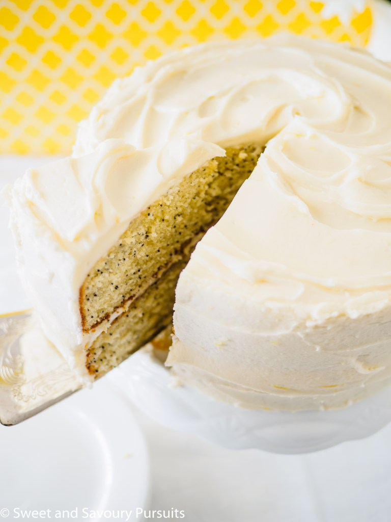 Layered Lemon Poppy Seed Cake with Cream Cheese Frosting