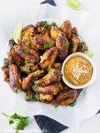 Baked Thai Chicken Wings with Peanut Sauce
