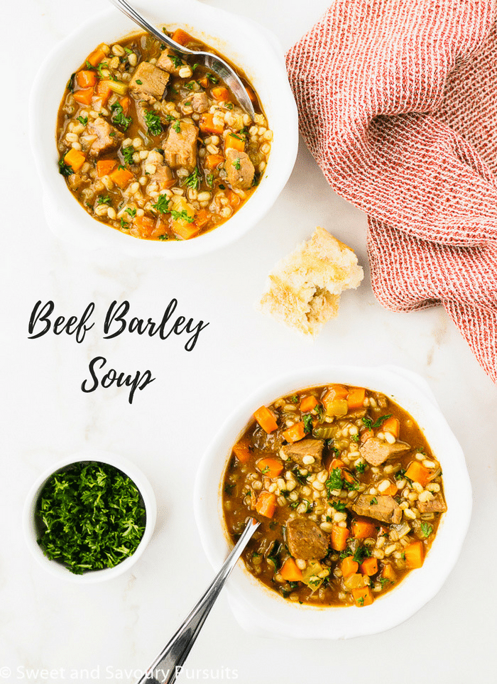 Making a pot of wholesome Beef Barley Soup from scratch doesn't have to be a long complicated process. This recipe is easy and in just a little over an hour you can have a delicious and hearty meal on the table.
